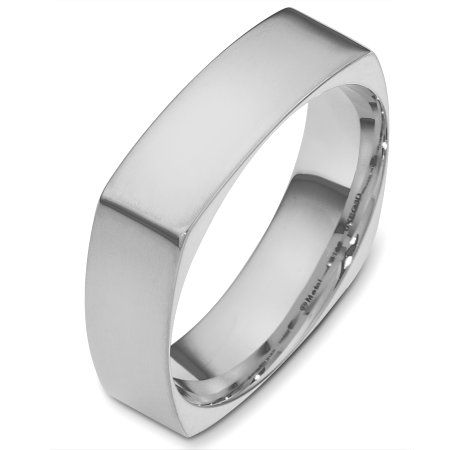 Platinum 60mm Wide Square Mens Band White gold wedding bands