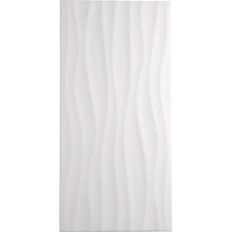 Carrelage mur blanc, décor hawaï wave l25 x L50 cm salle de bain