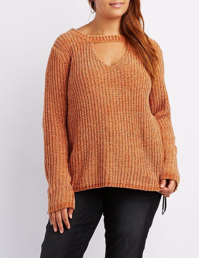 Charlotte Russe Plus Size Choker Neck Cut-Out Sweater Keep that ...