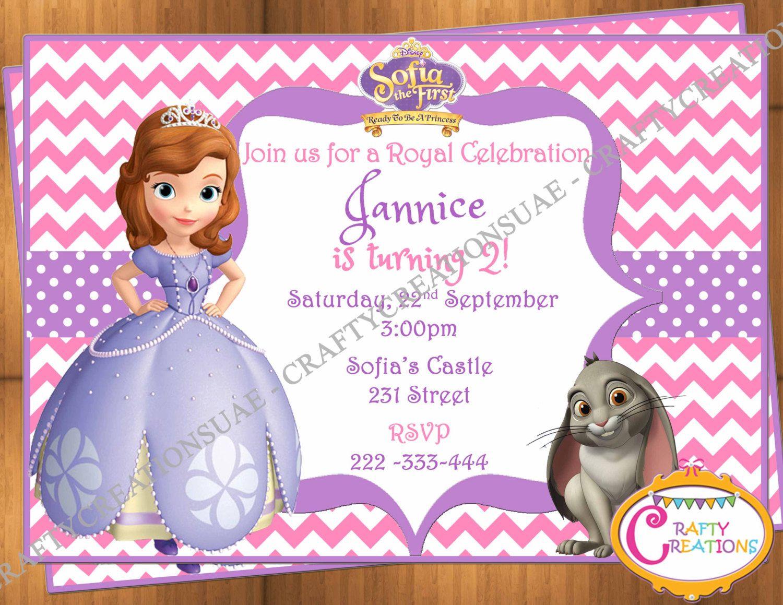 Printable Disney Princess Sofia The First Birthday Party Invitation ...