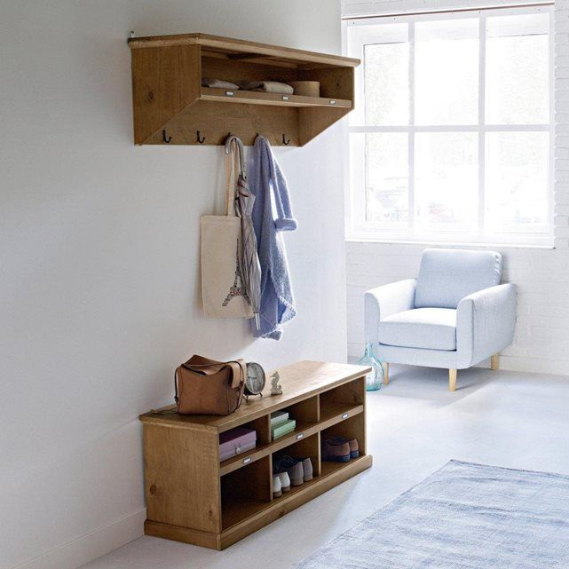 Meuble-banc d\u0027entrée en pin, Lindley Shelves