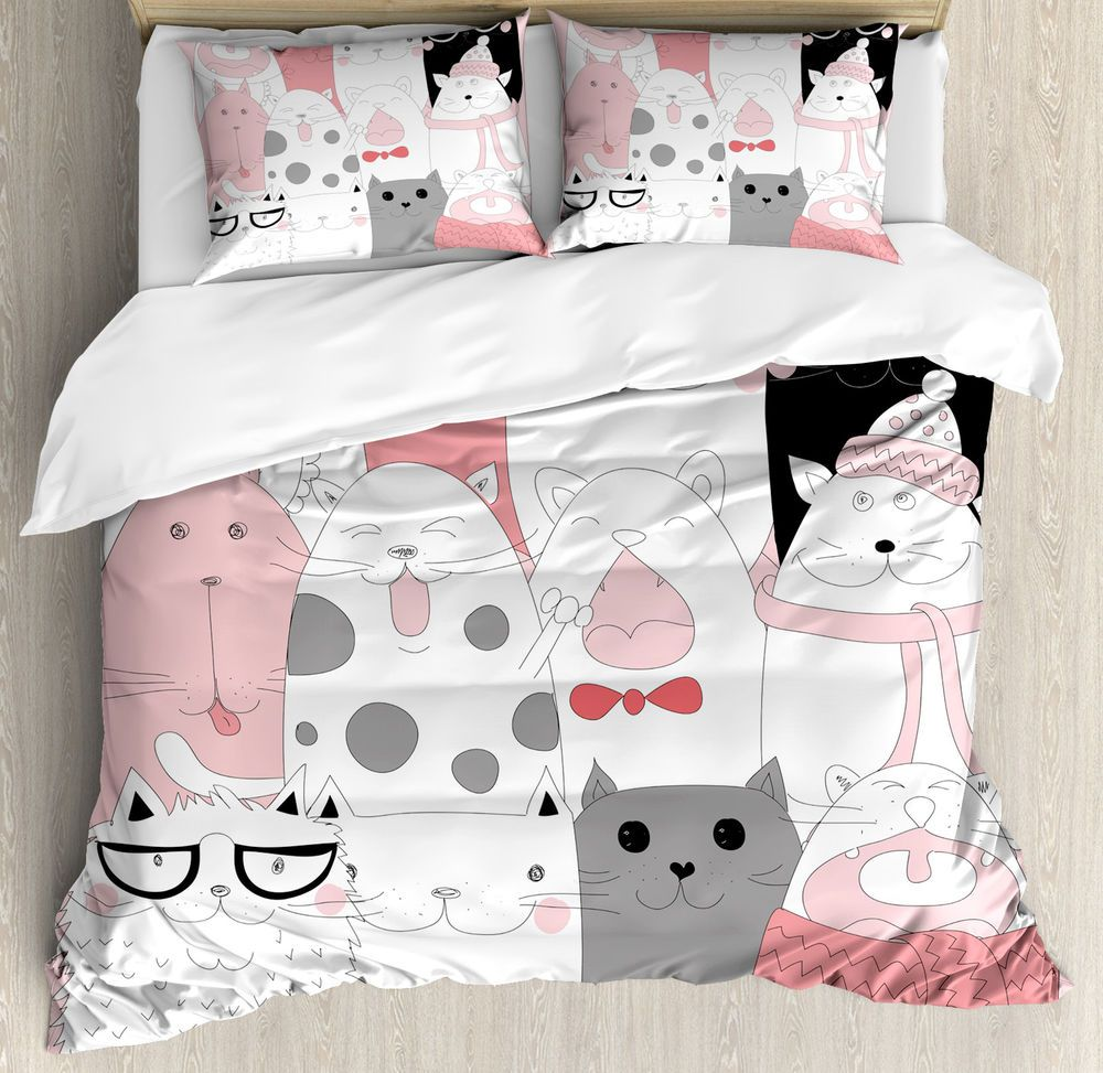 Cat Queen Size Duvet Cover Set Funny Kittens Humor Doodle With 2 Pillow Shams Home Garden Beddi In 2020 Duvet Cover Sets Queen Size Duvet Covers Cute Duvet Covers