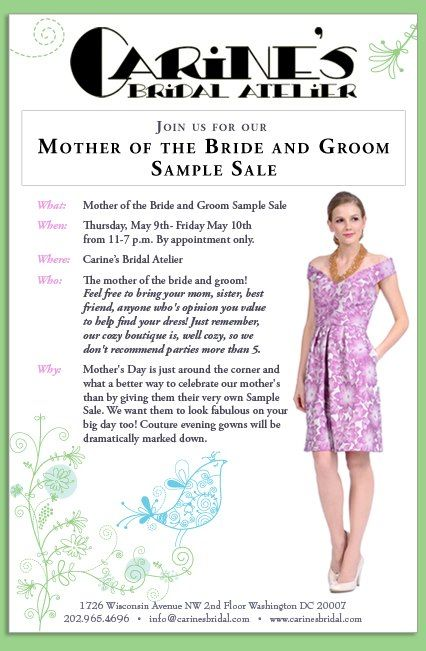 ☆NEW BLOG POST☆ Event Mother of the Bride and Groom Sample Sale - sample event