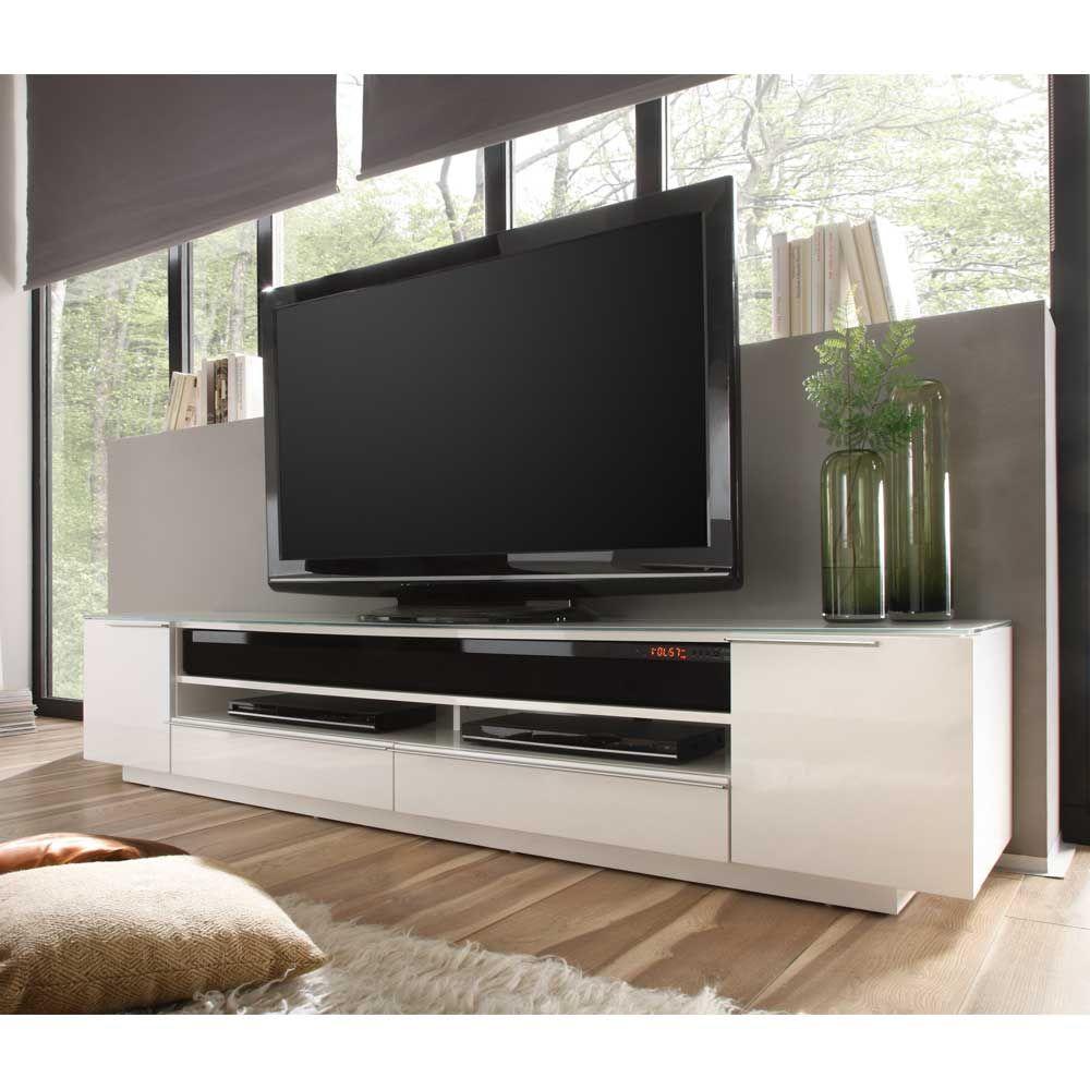 Dieses TV Lowboard In Hochglanz Weiß Mit Soundsystem Fügt Sich Wunderbar In  Ein Modern Eingerichtetes Wohnzimmer