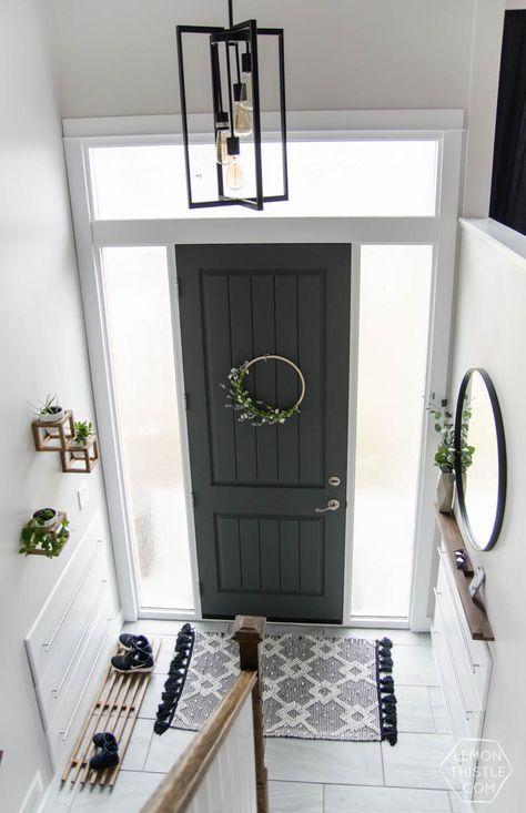 DIY Split Level Entry Makeover- I LOVE this entry. The oversize door scandi & DIY Split Level Entry Makeover- I LOVE this entry. The oversize door ...