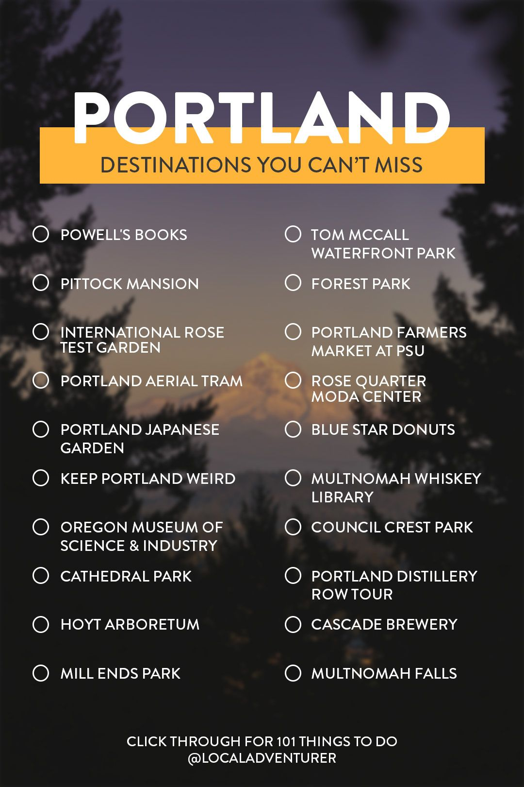 Looking for some new adventures in Portland Oregon? Save this pin for the top attractions but click through to see the full bucket list of 101 things to do in Portland// Local Adventurer #pdxnow #portland #localadventurer #portlandoregon #traveloregon #oregon #pdx
