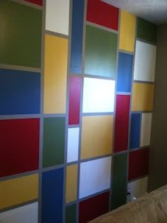 Square And Rectangle Pattern I Painted On A Bedroom Wall Wall Paint Patterns Wall Patterns Painting Patterns