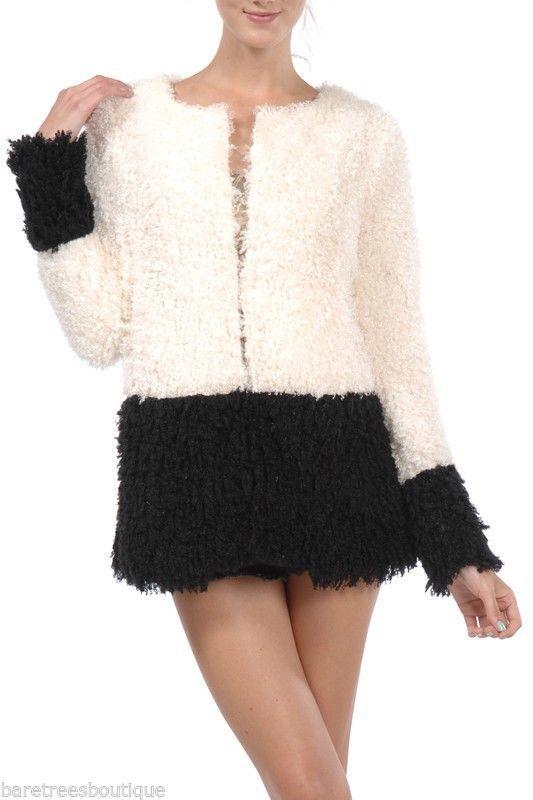 A reve Ryu Boutique Black   Ivory Solid Fuzzy Jacket Size M L  Areve   BasicJacket 18a17ed193