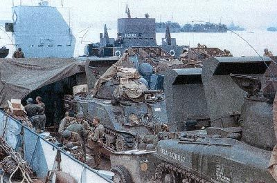 England June 1944, waterproofed armored vehicles (Sherman