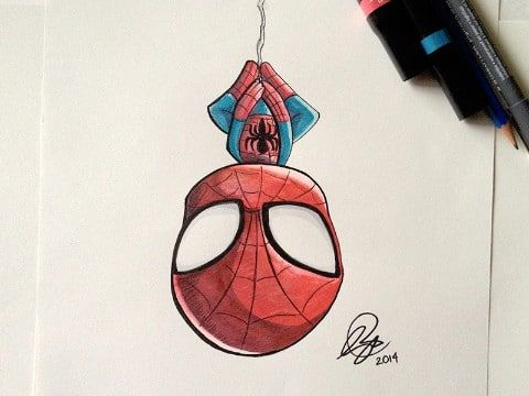 Dibujos De Spiderman A Color A Lapiz Bjj Araña Chibi Spiderman