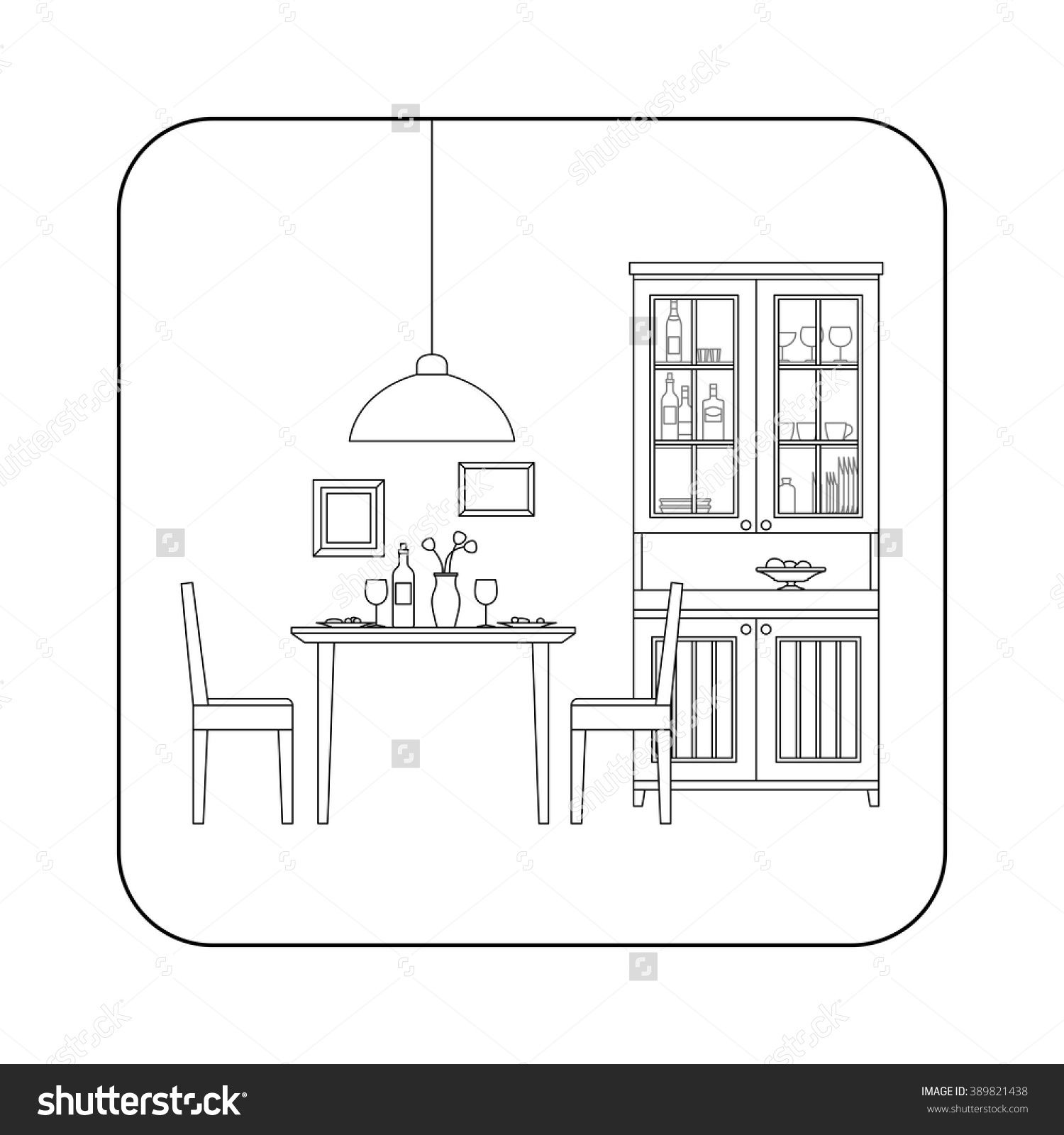Thin line interior of dining room. Vector line ...