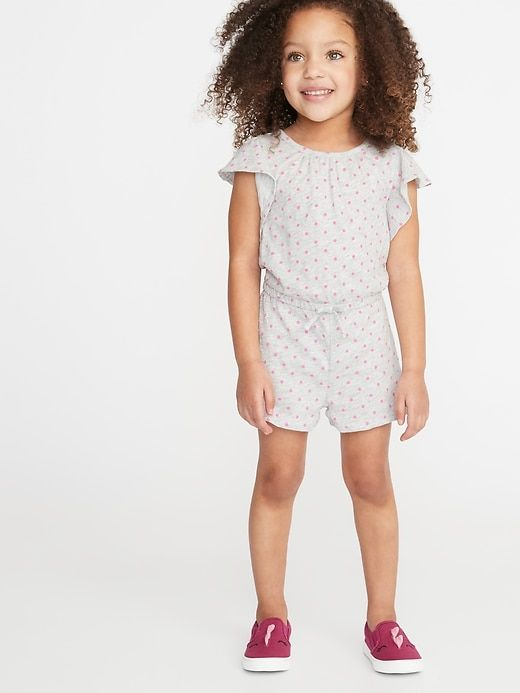 Printed Slub Knit Jersey Romper For Toddler Girls Products