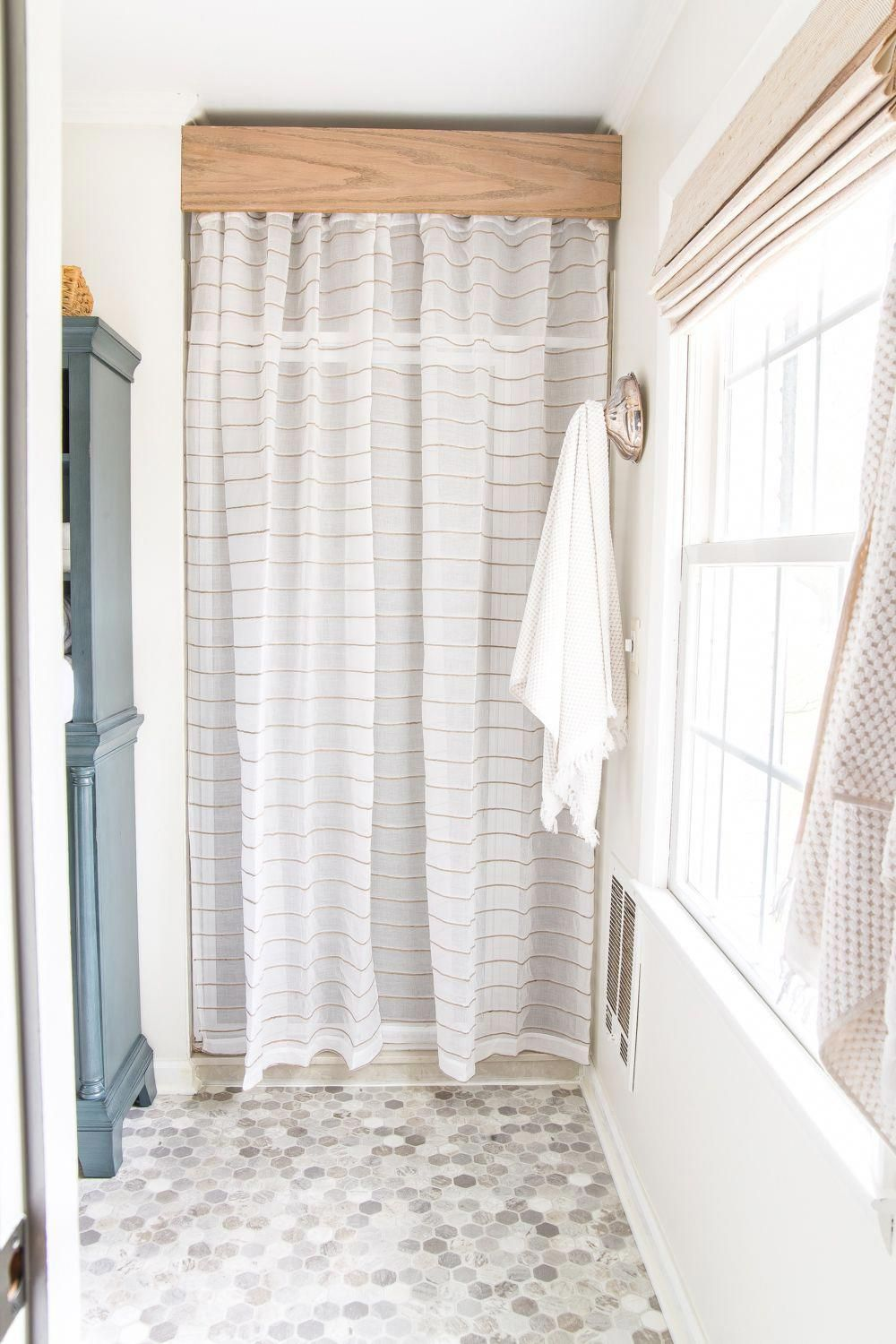 Budget Master Bathroom Refresh Reveal Old Shower Door Cover Up With A Semi Sheer Curtain And A Diy Wooden In 2020 Master Bathroom Refresh Shower Doors Bathroom Decor