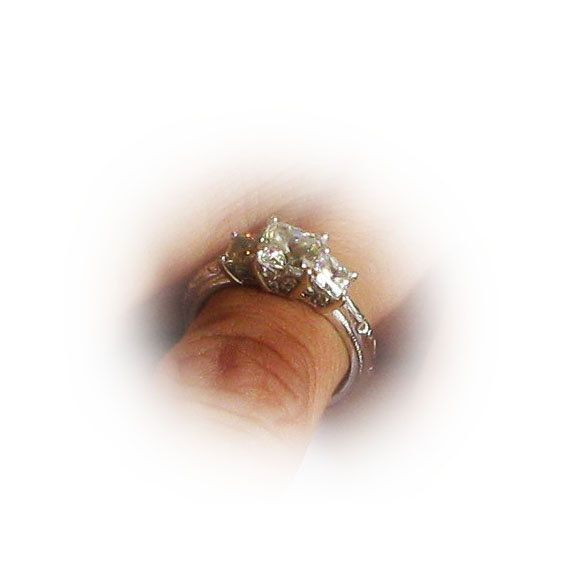 Sterling Silver Square Cut CZ Diamond Simulant Ring. $59.00 USD Only 1 available. Size 6.
