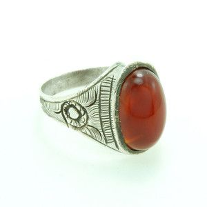Mens Brown Stone Silver Ring,