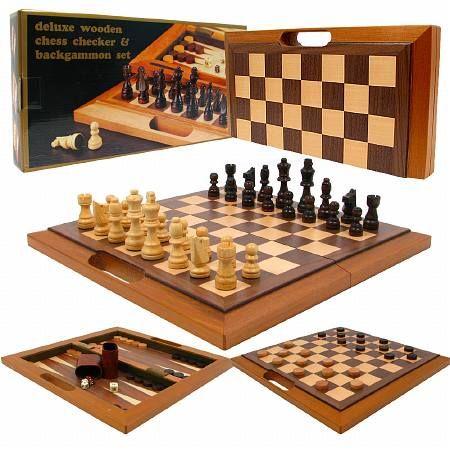 Trademark Games Deluxe Wooden Chess Checker Backgammon Set In