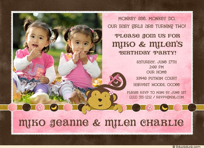 Sibling Monkey Birthday Invitation Photos Banana Double Monkey - Birthday invitation message for 2 year old