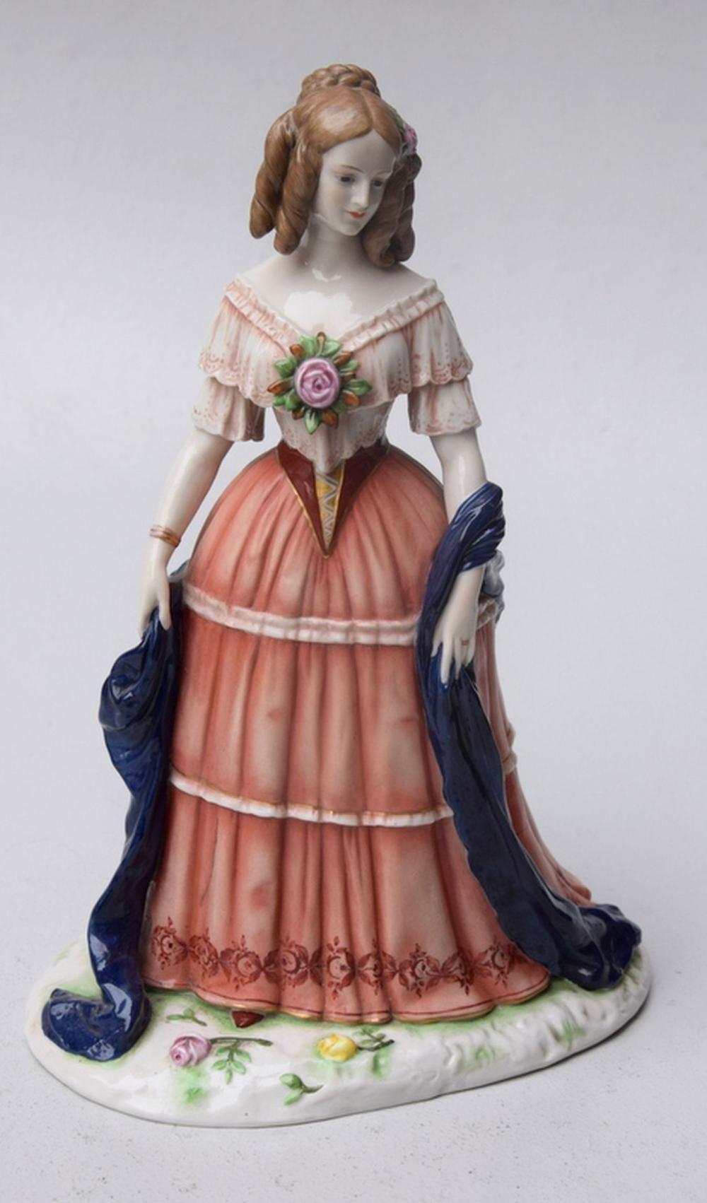 Sitzendorf, Porzellanmanufaktur Thüringen (blaue Manufakturmarke unterglasur): Stehende Dame im Biedermeier-Stil, Mod. Nr.11568