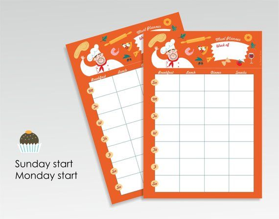 Meal plan calendar template, Weekly meal planning template printable