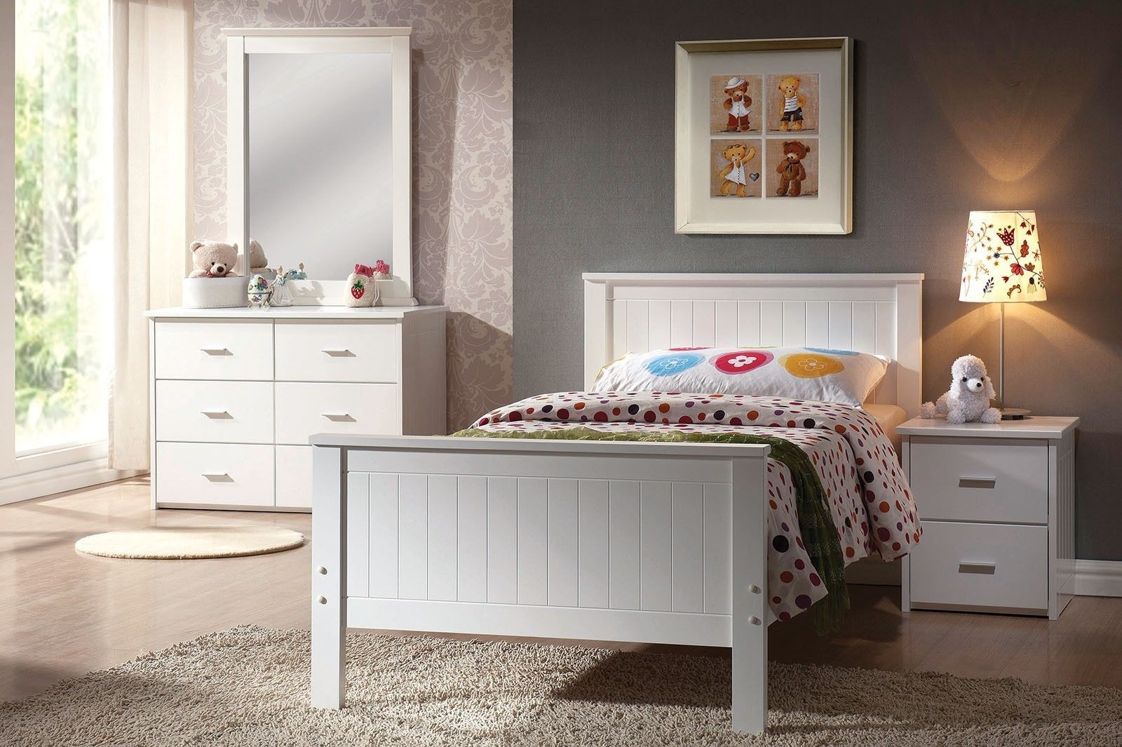 ACME BUNGALOW 4 PCS WHITE YOUTH FULL BEDROOM SET