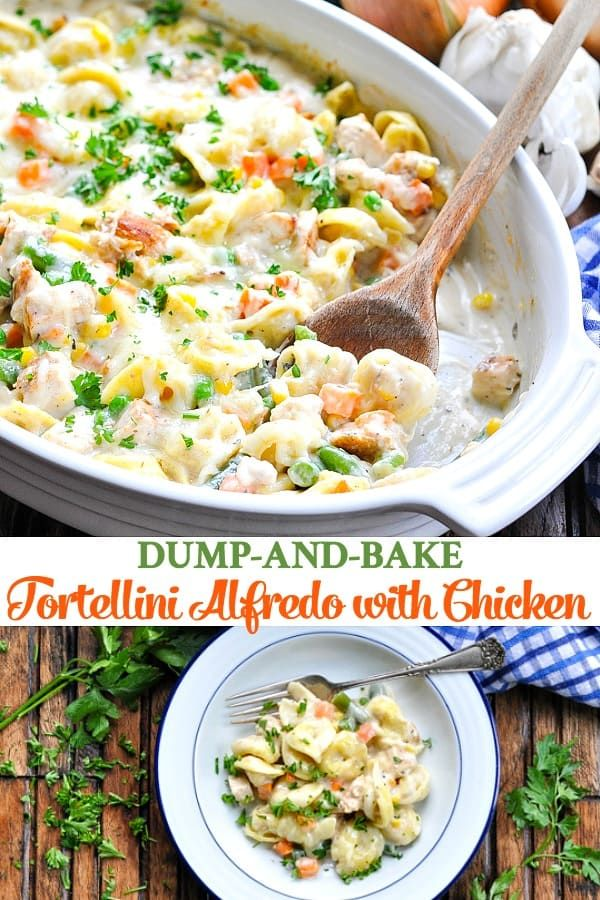 Dump and Bake Tortellini Alfredo with Chicken images