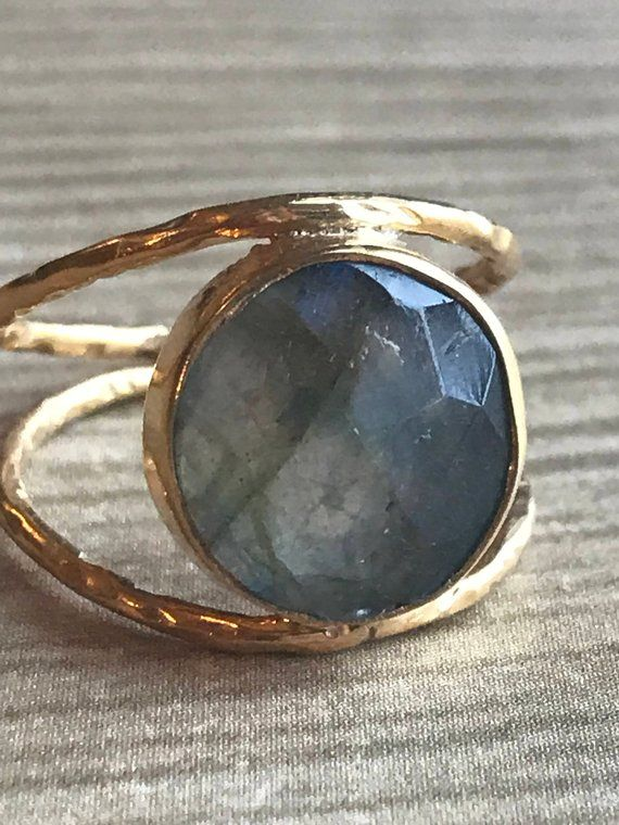 Photo of Labradorite Statement Ring * Hammered Rings * 14K Gold Plated Gem Stone Jewelry * Bridal Ring * Organic Ring * Natural Stone Classy Ring