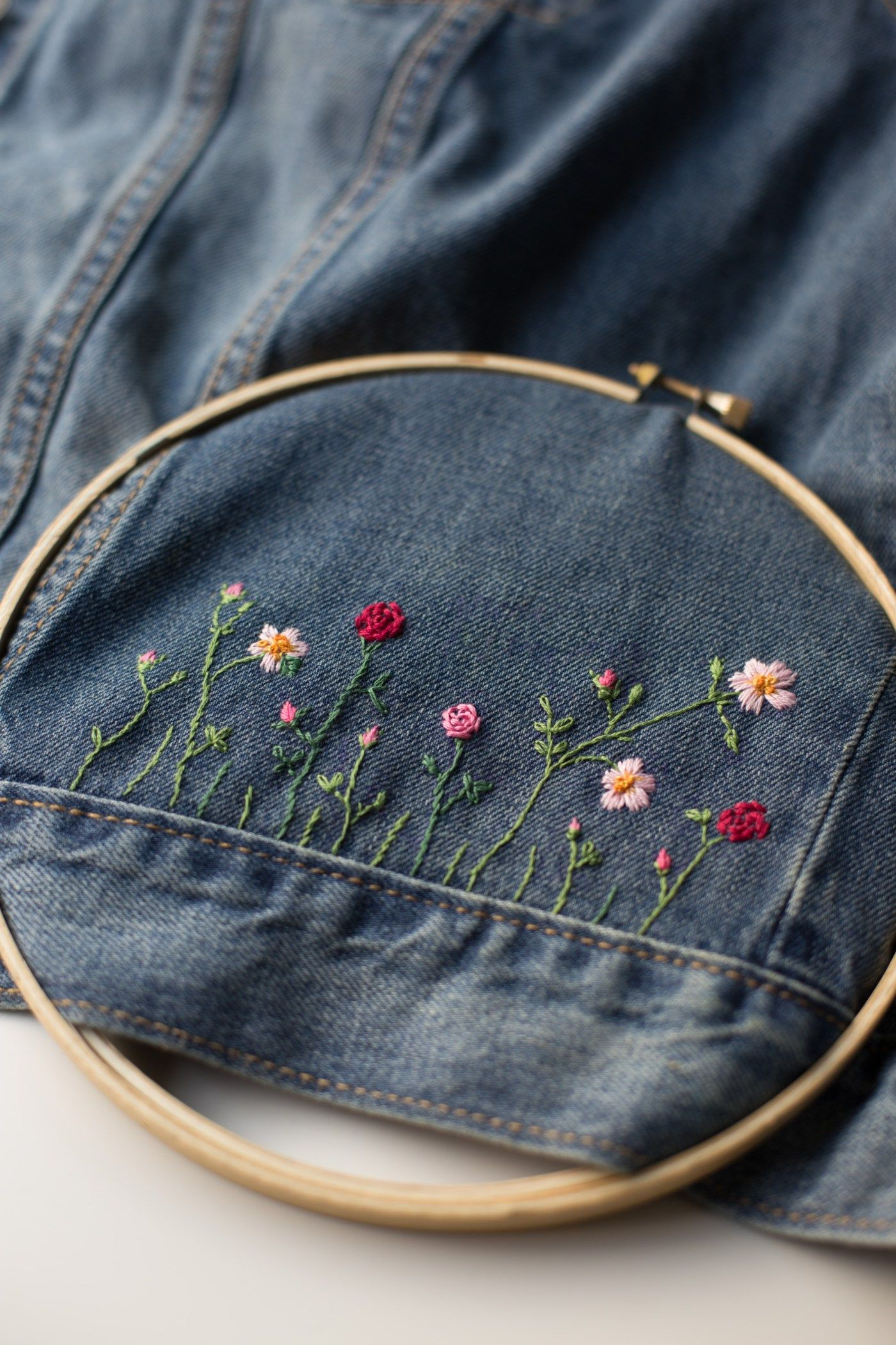 Make a Fabulous DIY Embellished Jean Jacket | Twine Finger knitting and Embroidery