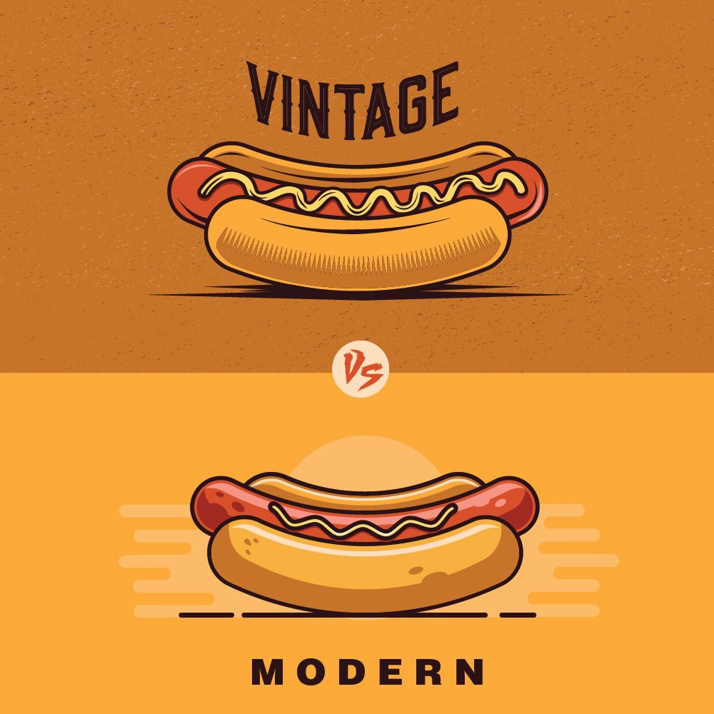Hot dog, fast food logo design, Vintage vs modern, top ...