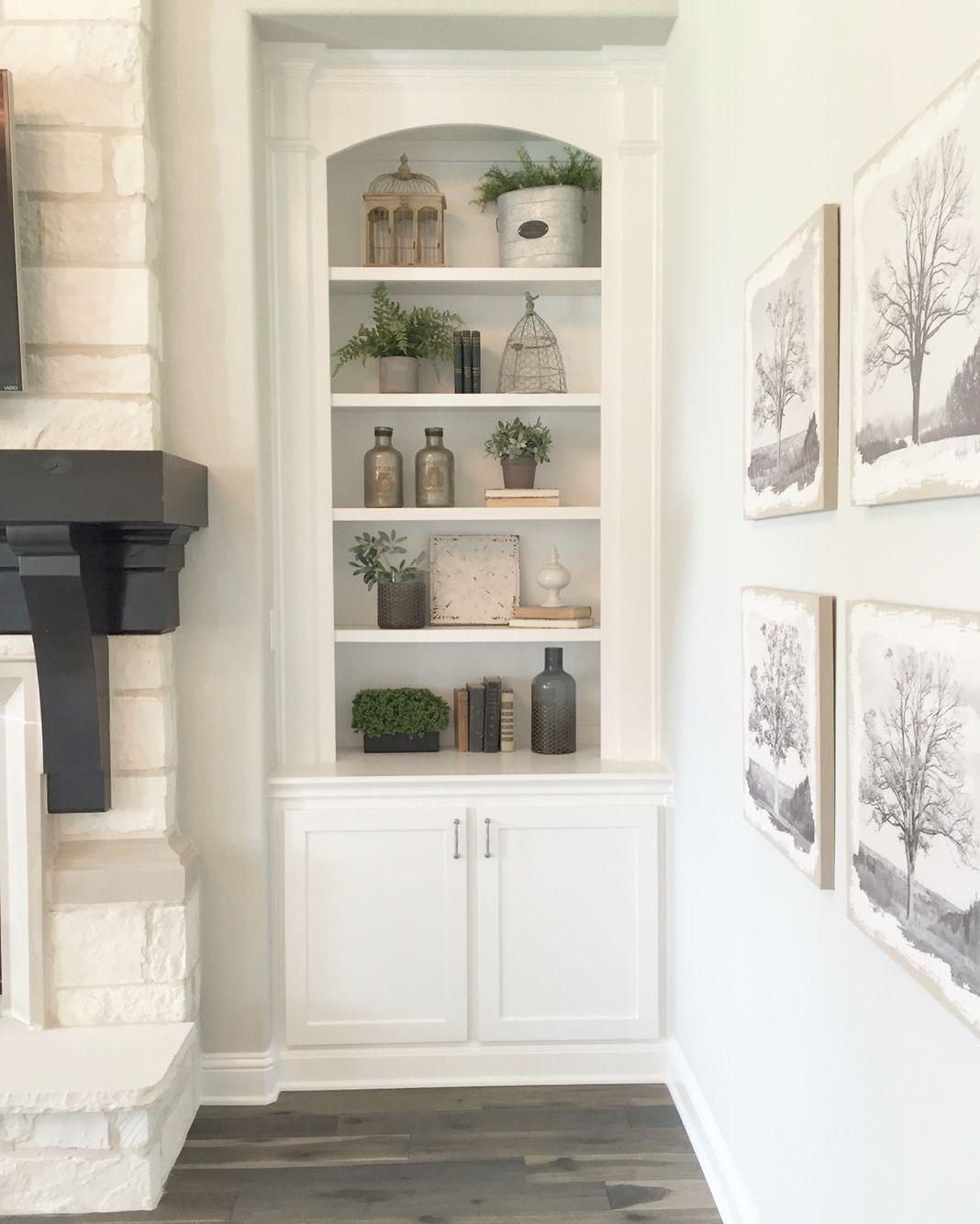 Built in shelves in living room Farmhouse decor living