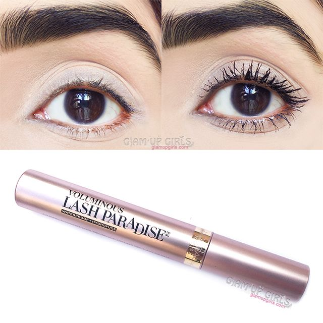 Before and After of L'Oreal Paris Voluminous Lash Paradise Mascara.