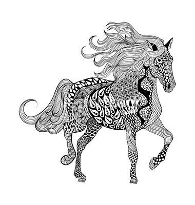 zentangle stylized black horse hand drawn doodle vectoripanki on vectorstock®   malvorlagen