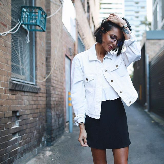 Crisp White Denim Jacket By Zuluandzephyr Silk Skirt From Topshop And Glasses Are Ameyewea White Denim Jacket Outfit White Jacket Outfit White Denim Jacket