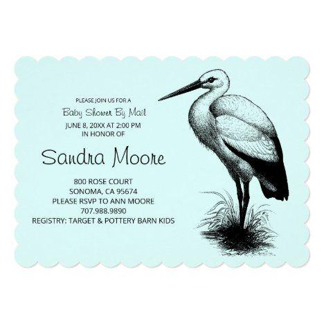 Elegant Stork Baby Shower By Mail Blue Green Invitation