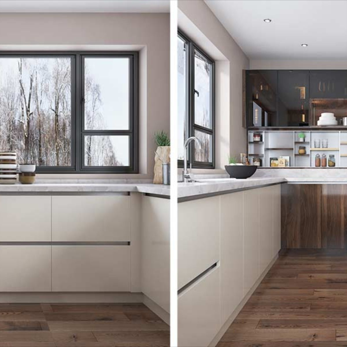 Nl Furniture Wood Brown High Gloss Uv Lacquer Kitchen Cabinet In 2020 Kitchen Cabinets U Shaped Kitchen Cabinets Kitchen