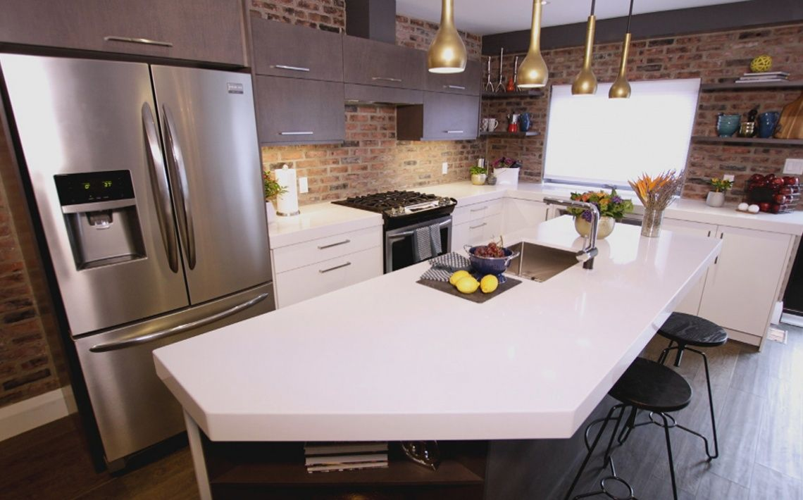 Brick & Gold & White:  This is one of my favorite kitchens that we've done. I love the modern / industrial palette.