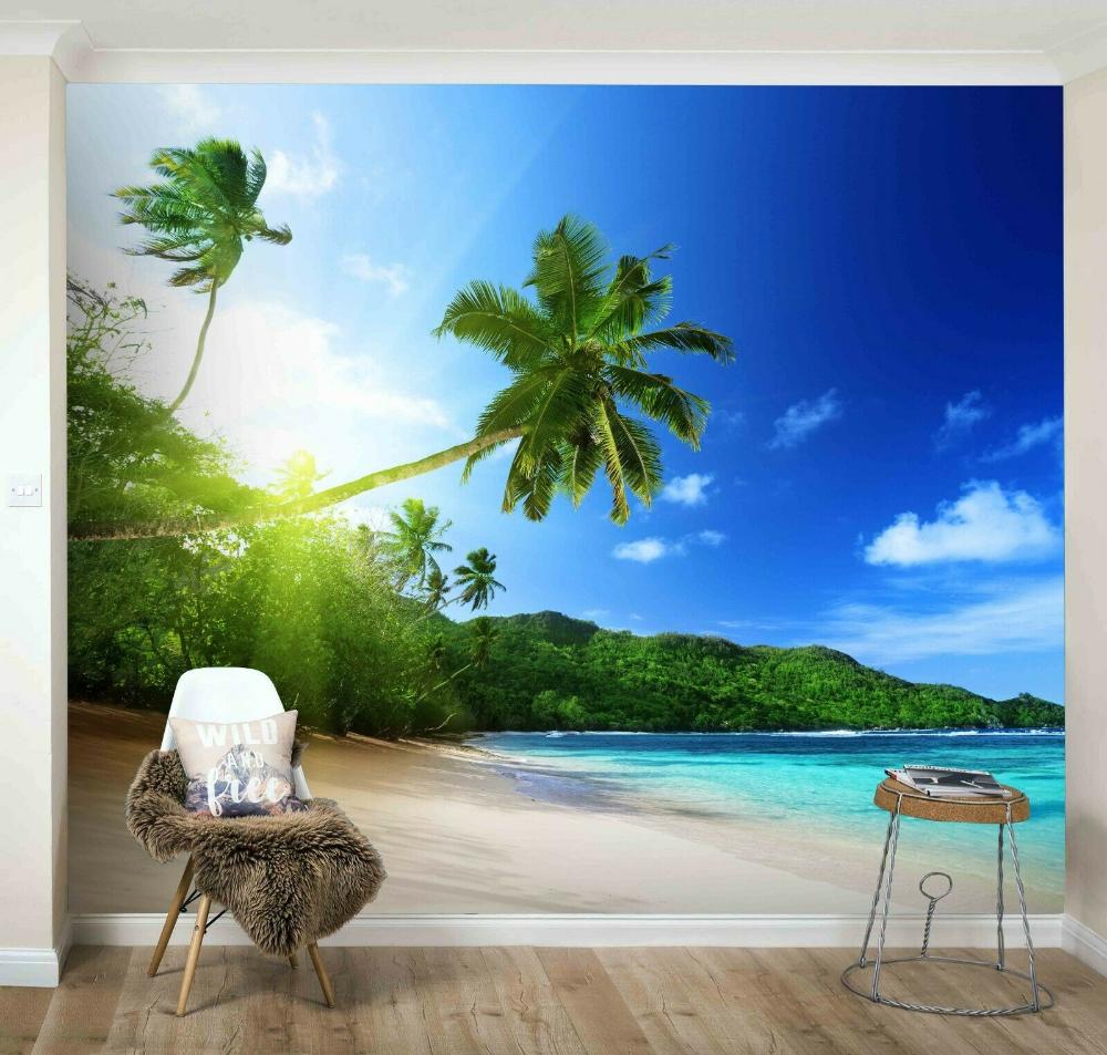3D Island Beach Sunset Wallpaper Wall Mural Removable Self