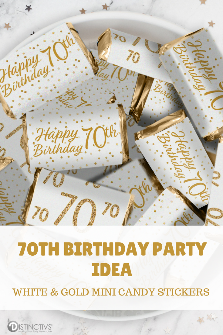 These White And Gold 70th Birthday Party Stickers Are Made To Perfectly Wrap Around HersheysR Miniatures Bars Whiteandgold 70thbirthday Birthdaydecor