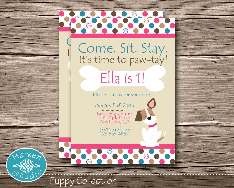 Pink Puppy Birthday Party Invitation, Printable Puppy Birthday ...