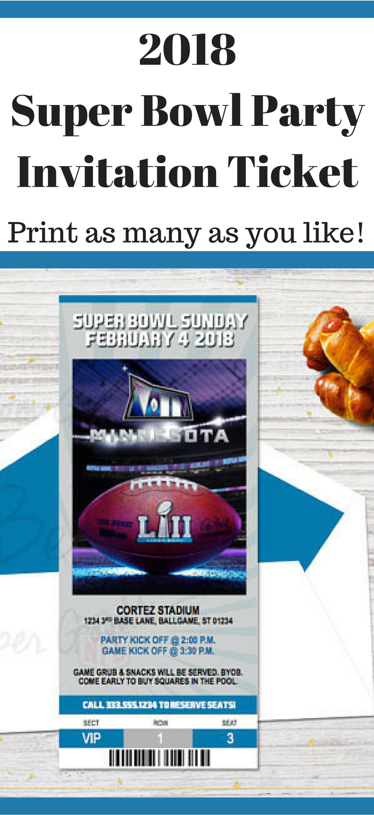 2018 Super Bowl Party Invitation Ticket | Printable Invitation #ad #superbowl #superbowlparty #printable #instantdownload #party #partyideas #invitation