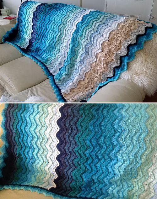 Ocean Waves Throw Free Pattern Beautiful Skills
