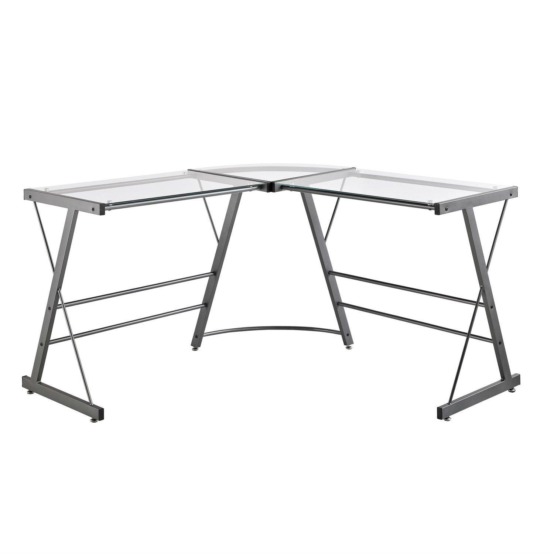 Metal frame glass top lshape desk laptop computer writing table