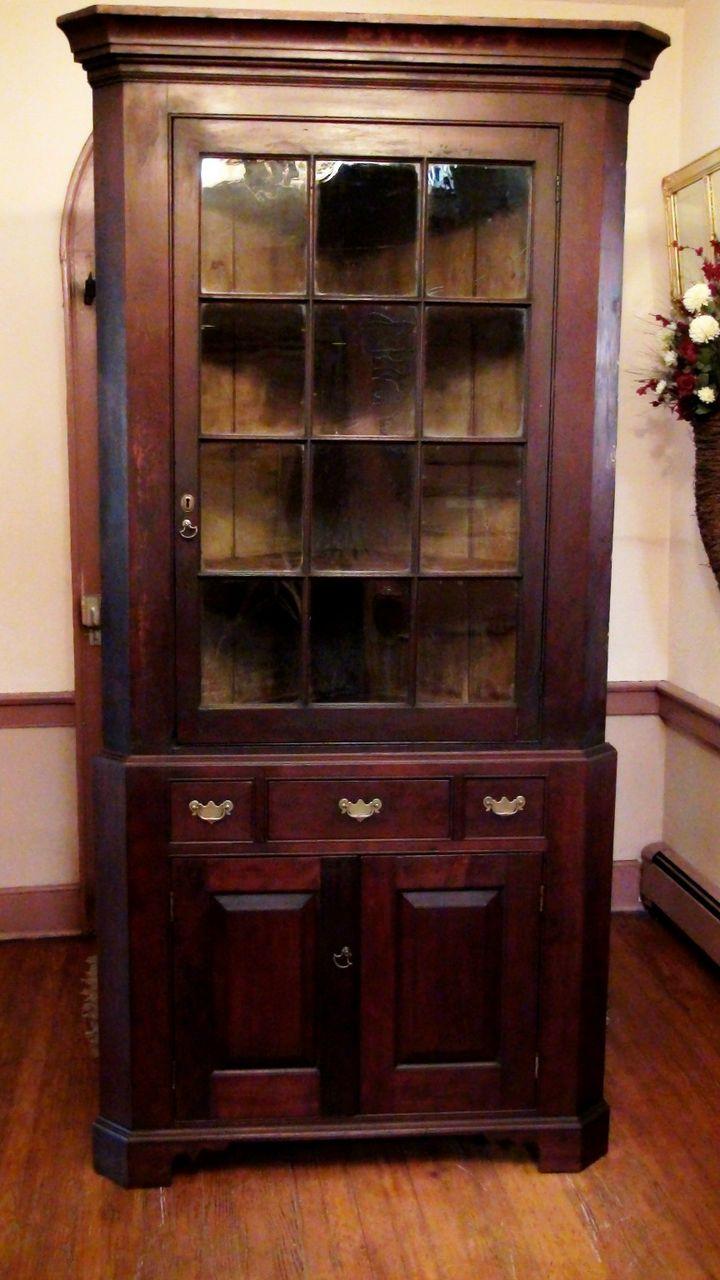 8ba8929fbfbf Antique American Early 19th Century 12 Pane Cherry Corner Cupboard. from  whispersintime on Ruby Lane