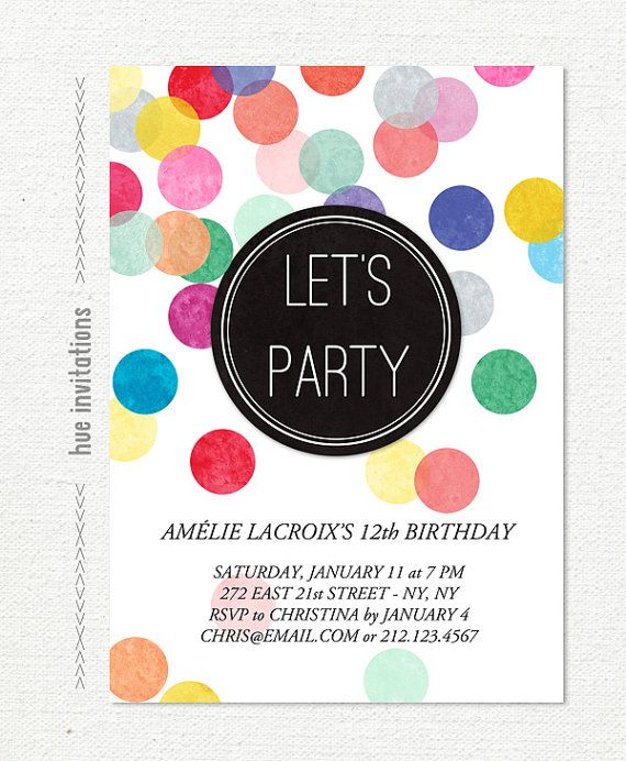 12th birthday party invitation rainbow confetti birthday invite – 12th Birthday Invitations