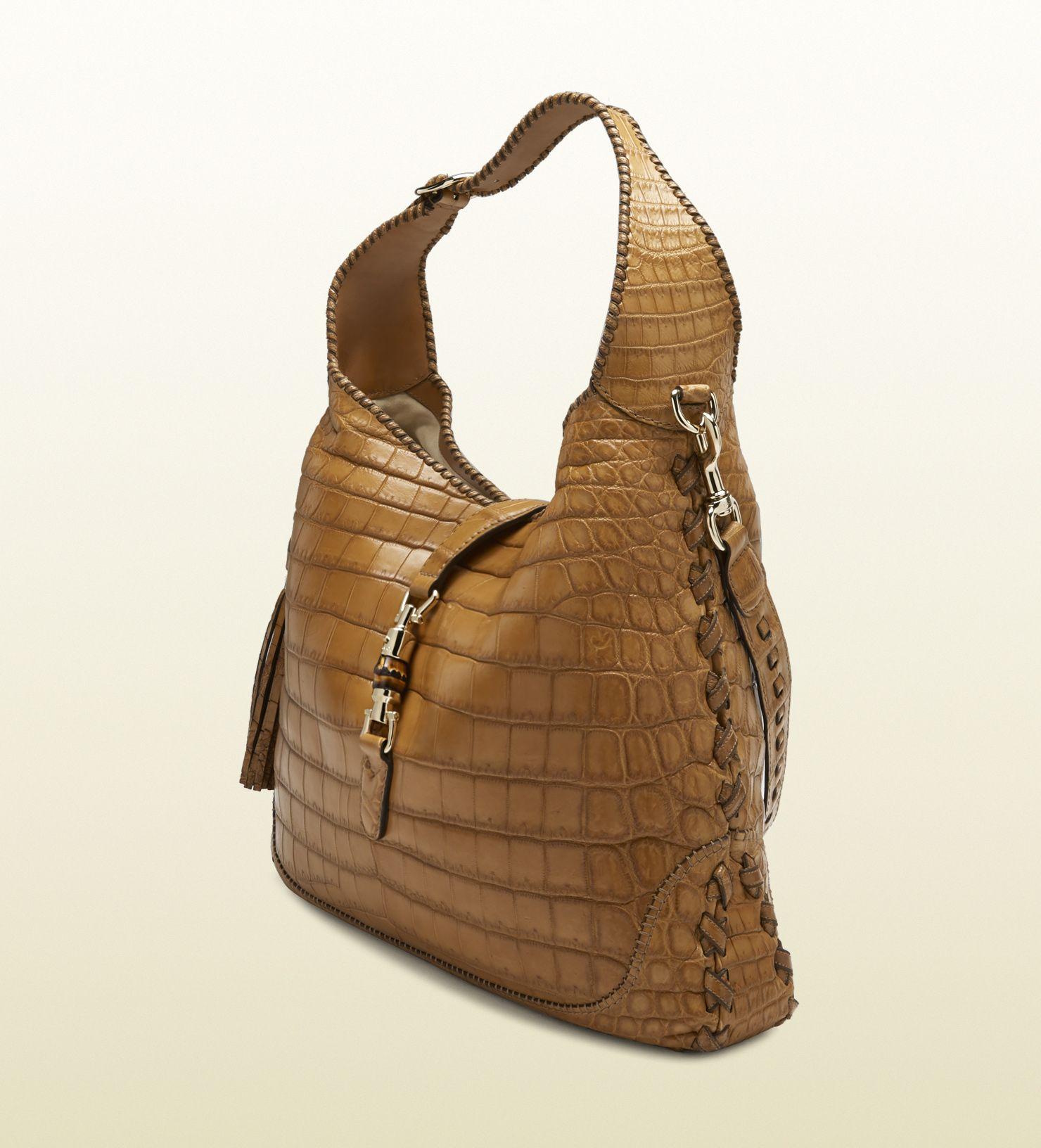 e7d1005b3dd Gucci New Jackie Crocodile Shoulder Bag in Brown (natural)