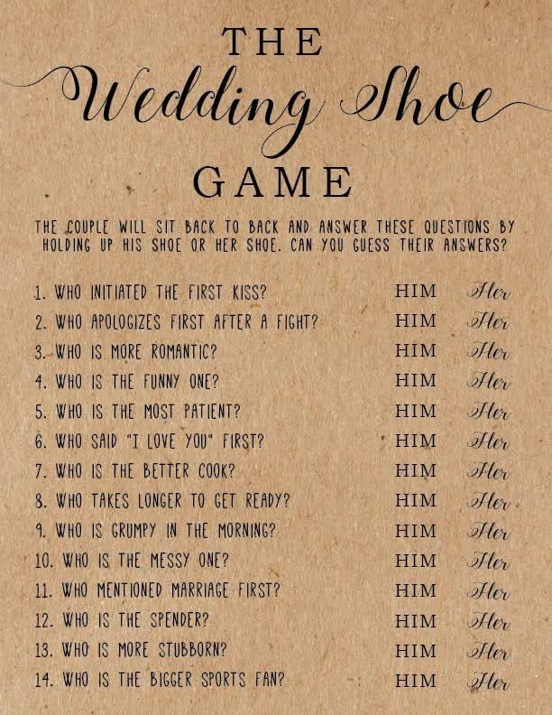 The Wedding Shoe Game . Bridal Shower Games . Wedd