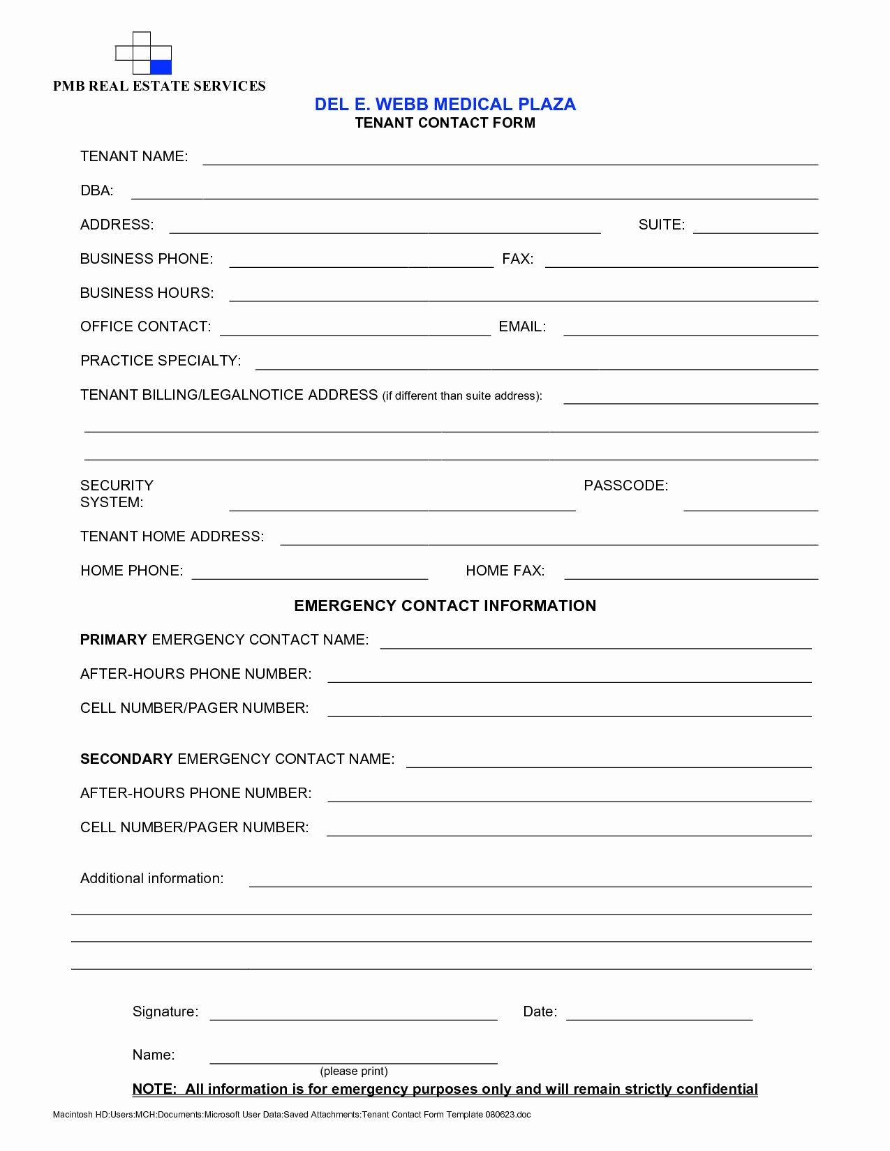 Contact Information form Template New Every Making form
