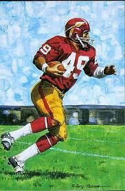 Bobby Mitchell of the Washington Redskins was inducted into the Pro Football Hall of fame in 1983.