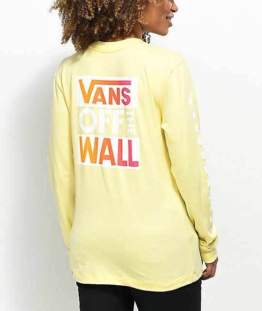 3ffa439f8b1 Vans OTW Pale Yellow   Pink Long Sleeve T-Shirt in 2019