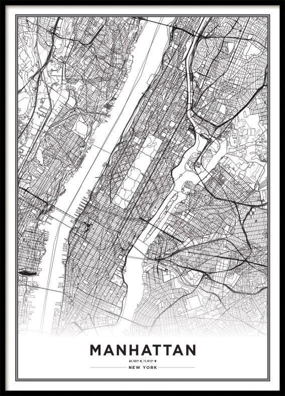 new york karta tavla Tavla, poster med Manhattan, New York | Affisch | Archiveseven. new york karta tavla