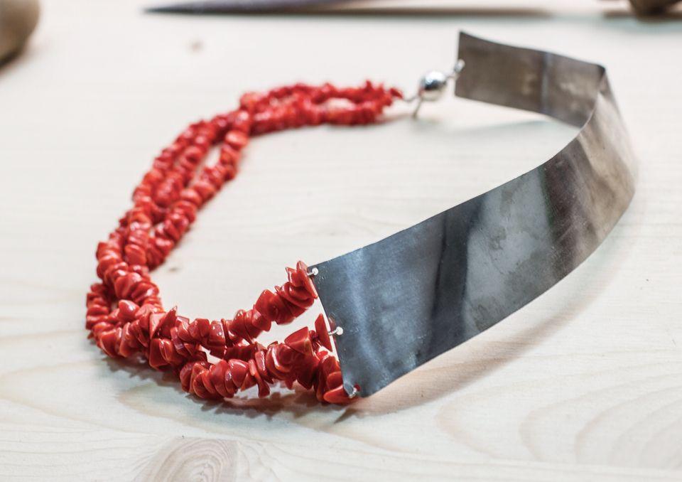 Necklace  in silver plate and coral. Cristiana Turano Campello , Cristiana creatrice di gioielli